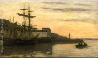Boudin.Honfleur, sailboats,