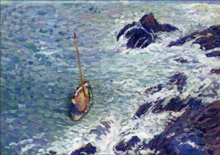 ART.Henri Martin.Boats near Cliffs.