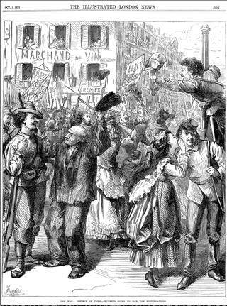 Siege of Paris.1870.Students man the barricades.London News.