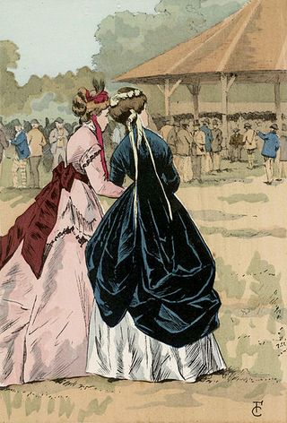 Octave Uzanne.Fashion in Paris. The Shelter on the Longchamps race course, 1868.