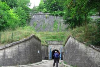 Verdun.Tom entering the Citadelle-Souterrainne.July2015