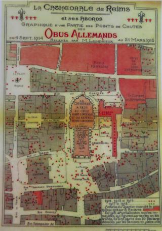 Reims.German bomb targets.1914-1918
