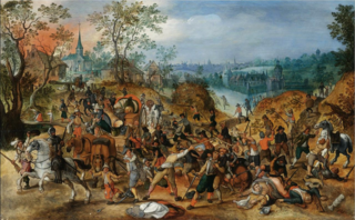 Travelers ambushed outside a small town.Sebastian Vrancx