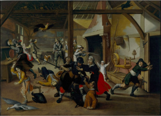 Soldier's plundering a farm during Eighty years war. c1600.Sebastian Vrancx