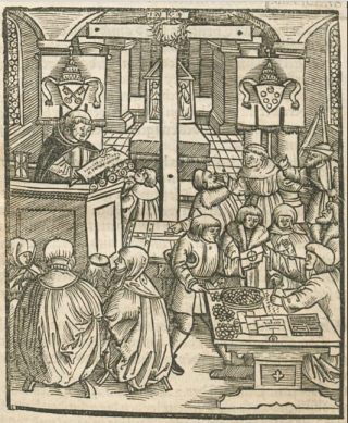 Selling of indulgences in a church.Augsburg.1521