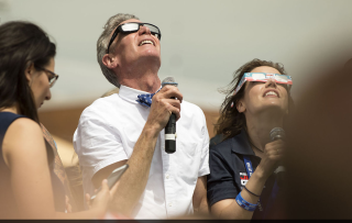 Bill Nye watches the eclipse as a private person and a public speaker