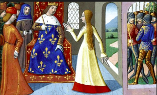 Joan of Arc meets Charles VII at Loches.1484.from Vigiles de Charles VII  Bibliothèque Nationale