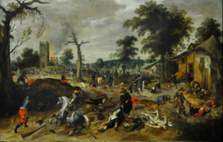 Vranx.Aftermath of the plundering of the village of Wommelgem in 1589.