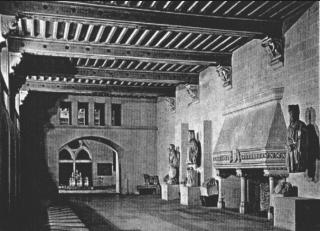 Pierrefonds.La Salle des gardes.old photo of surviving fireplace