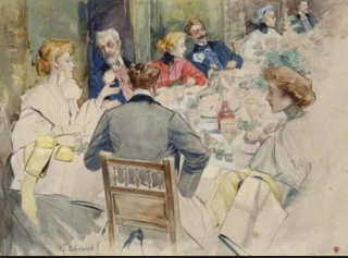 Jean Beraud.An elegant dinner party.c1900