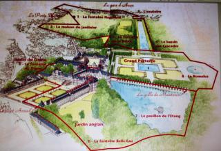 Fontainebleau.Suggested walk around gardens