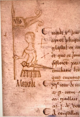 Joan of Arc.doodle on the margin of the protocol of the parliament of Paris  10 May 1429