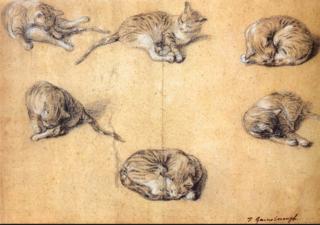 Gainsborough.Six studies of a cat.1765-70