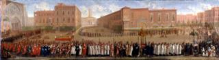 TLS archives.La procession des corps saints sortant de la Cathédrale Saint-Etienne.Jean II Michel.1700