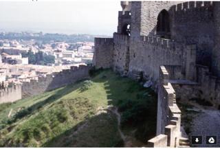 Grandpa's photos of Carcassonne, c 1961, curtain wall