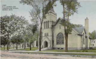 Methodist Episcopal Church, Morris, MN.c1910.Longfellow school in background