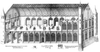 Du Cerceau.Two tiered hall at château de Montargis.