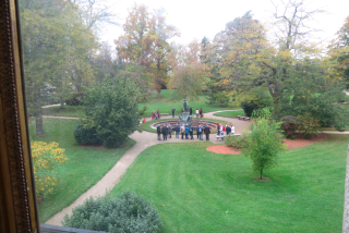 Fontainebleau.View of Garden of Diana from Marie Antoinette's boudoir.Oct 2017