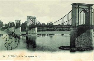 Pont de Langeais.Suspension Bridge  c 1850