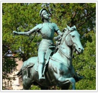 Joan of Arc riding before the troops of France