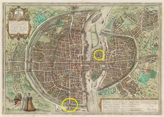 Paris  1572--Porte St Honore & Notre Dame circled