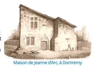 Jeanne d'Arc.birthplace in Domrémy.etching