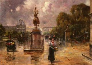 Place des Pyramides  Paris.Joaquin Allustante (1853 - 1935)