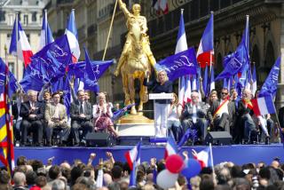 May 1 celebration.Marine Le Pen addresses the National Front