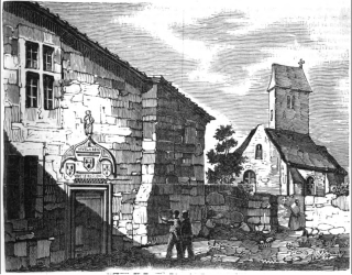 Jeanne d'Arc--birthplace in Domremy.engraving from 1834
