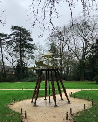 Clos Lucé.da Vinci invention in park.16FEB2018
