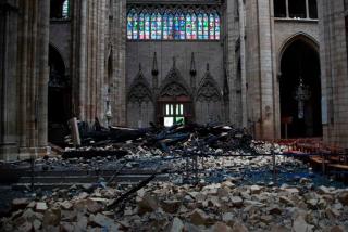 Notre-Dame fire.interior of church facing north transept.15APR2019
