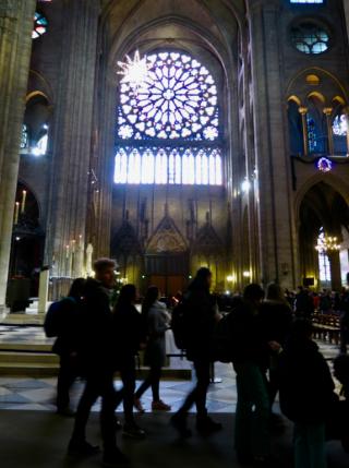Notre-Dame de Paris.Rose window.Christmas  2016