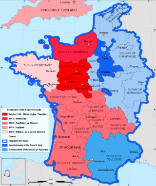 France in 1154.Angevin lands in red.