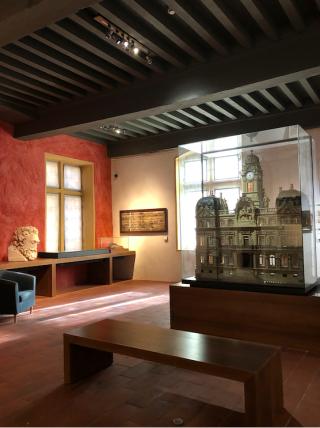 Lyon.Musee Gadagne.Interior showing model of town hall.16NOV2019