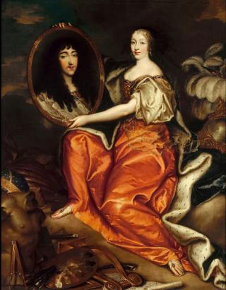Henrietta Anne  with medallion of Monsieur.c1665