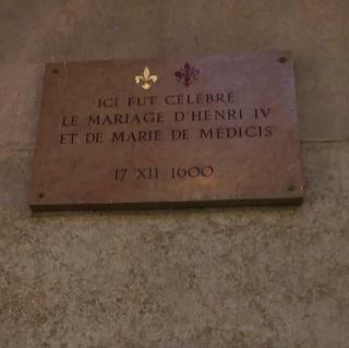 Lyon.plaque commemorating marriage of Henri IV & Marie d'Medici 1600