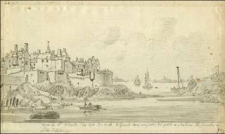 Saint-Malo.drawing of Fort la Reine and Tour Bidouane.c1700