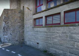 Saint-Malo.old wall & new.remnant of chateau gaillard? google