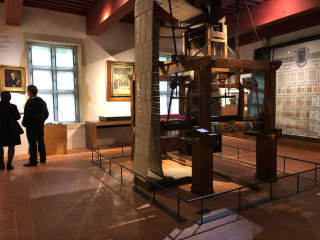 Lyon.Interior of Musee Gadagne.silk looms.16NOV2019