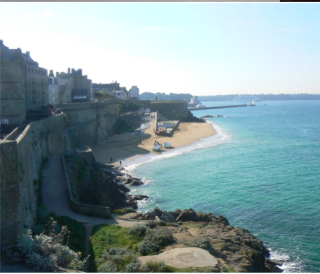 St Malo.View from top of tour Bidouane back to beach