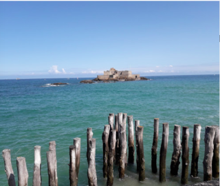 Saint-Malo.Fort National at high tide.quite cut off from mainland.google