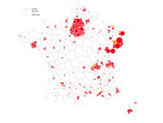 Covid-19.Location of Covid-19 cases.10 March