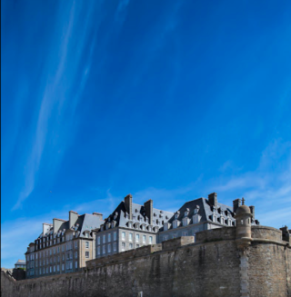 St Malo.View and St Philippe's bastion from sea wall.google