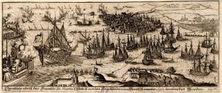 Saint-Malo.An Anglo-Dutch fleet attacks. c1695.cannons of Bastion de la Holland visble at bottom