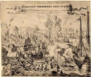 Egnlish fleet attacks St Malo.c1693