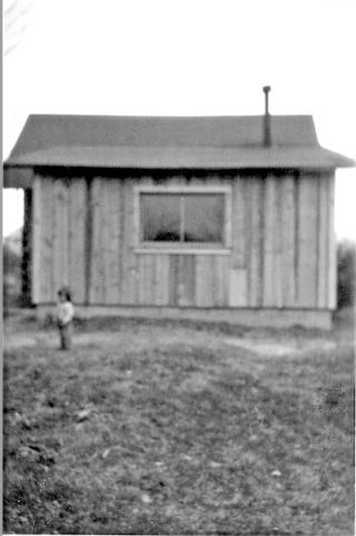 Cabin on Briggs farm.two year old Carolyn.Spring 1948