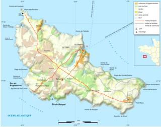 Belle-Île.Carte administrative en français