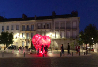 Troyes.August 2018.Sculpture by night