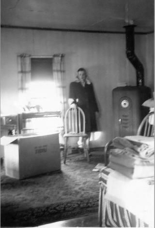 Cabin on Briggs farm.Mom  1946.