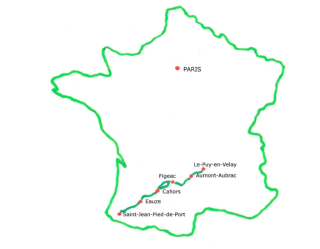 Sentier de Saint-Jacques Compostelle.Melinda Lusmore map